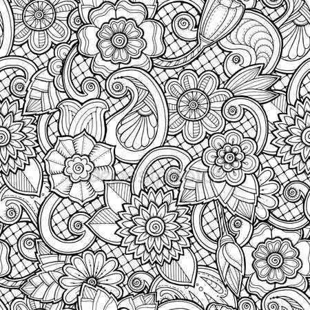 Downloaden Doodle Naadloze Achtergrond In Vector Met Doodles Bloemen En Paisley Vector Etni Bloemen Kleurplaten Boek Bladzijden Kleuren Mandala Kleurplaten
