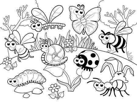 Bugs En Slak Met Achtergrond Cartoon Vector Illustratie Dieren Kleurplaten Zomer Kleurplaten Gratis Kleurplaten