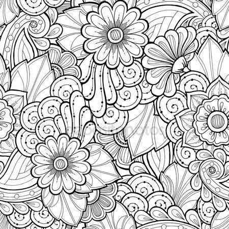 Downloaden Doodle Naadloze Achtergrond In Vector Met Doodles Bloemen En Paisley Vector Etnische Patroon Kan Wor Bloem Kleurplaten Doodles Etnische Patronen