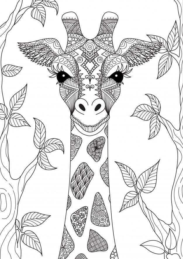 Handgetekende Giraf Mandala Kleurplaten Kunst Ideeen Zendoodle
