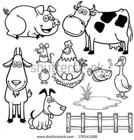 Koeien Stockillustraties Cartoons Shutterstock Dieren Kleurplaten Baby Dieren Dier Schetsen