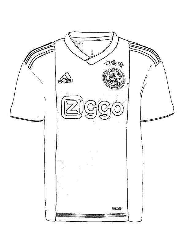 Kleurplaat Ajax Voetbalshirt Voetbalshirt Kleurplaten