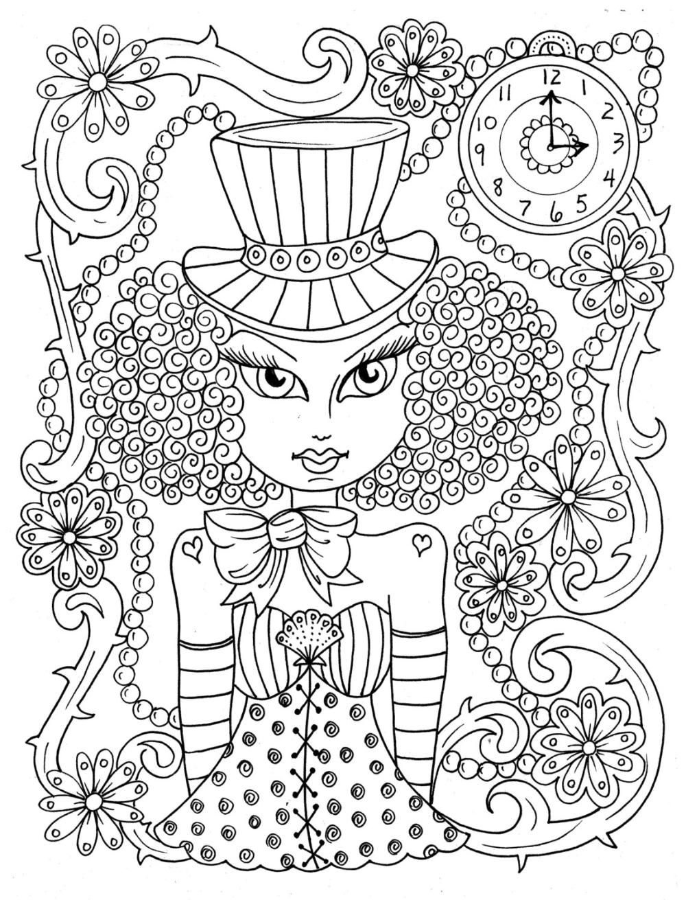 Steampunk Girls Coloring Book For All Ages Fun Quirky Cute Digi Stamps Digital Jpg Cardmaking Kleurboek Boek Bladzijden Kleuren Digi Stempels