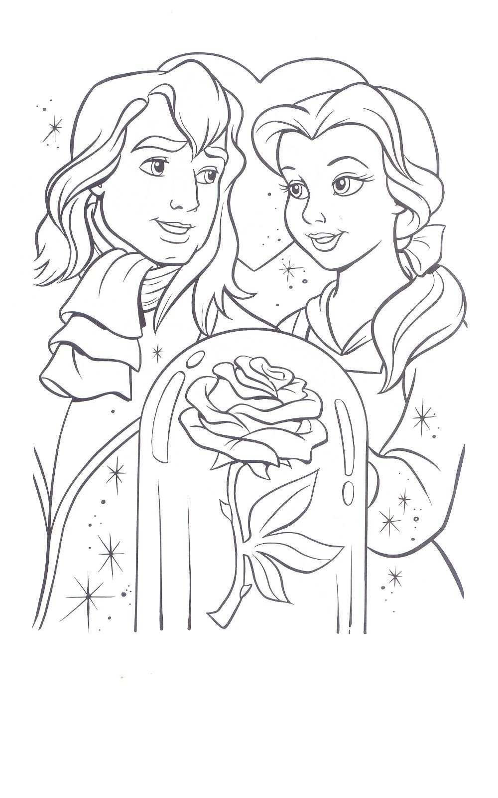 Beauty And The Beast Coloring Page Disney Coloring Pages Cartoon Coloring Pages Rose Coloring Pages