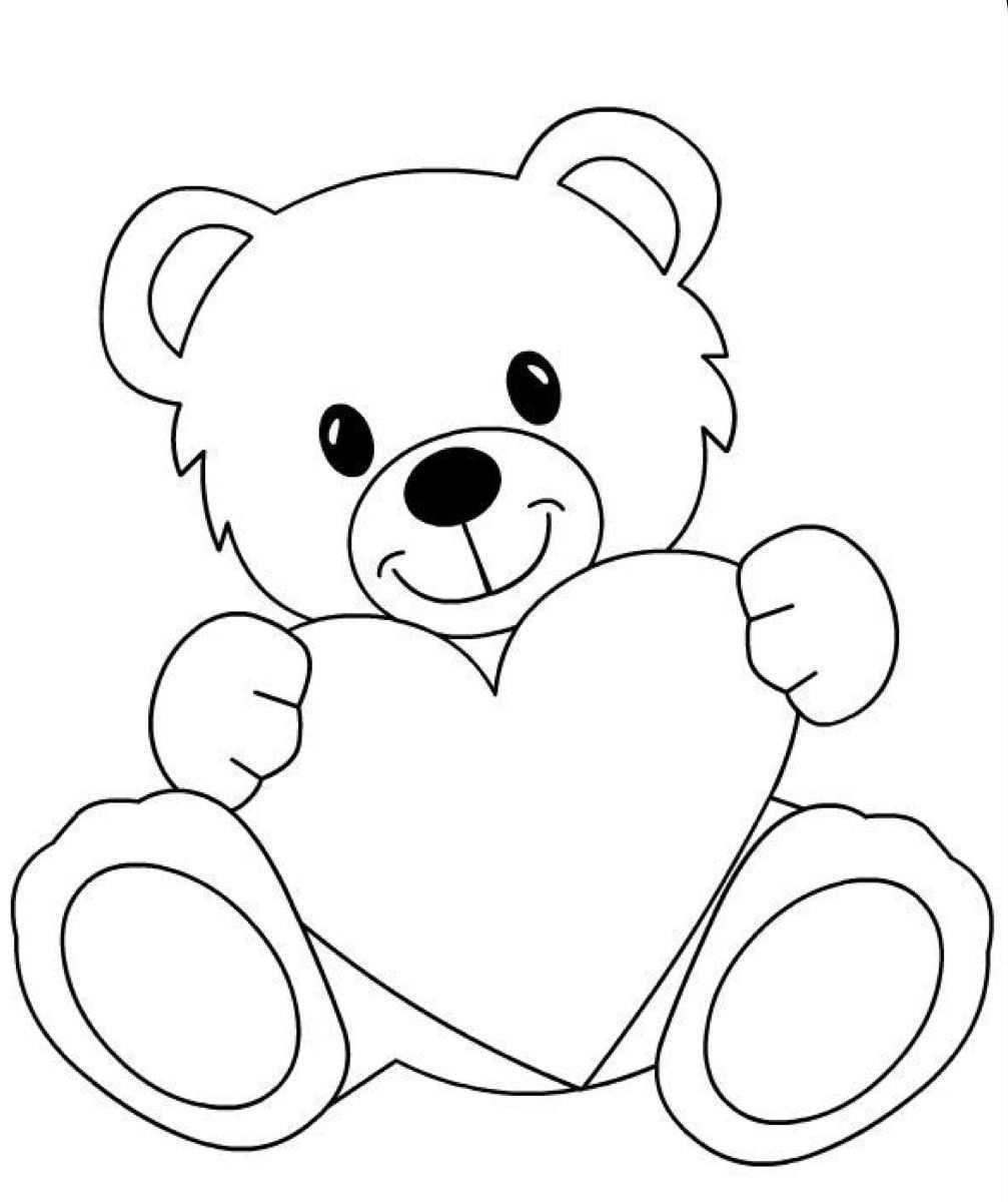 Kleurplaten Beer Met Groot Hart Bear Coloring Pages Teddy Bear Drawing Art Drawings For Kids