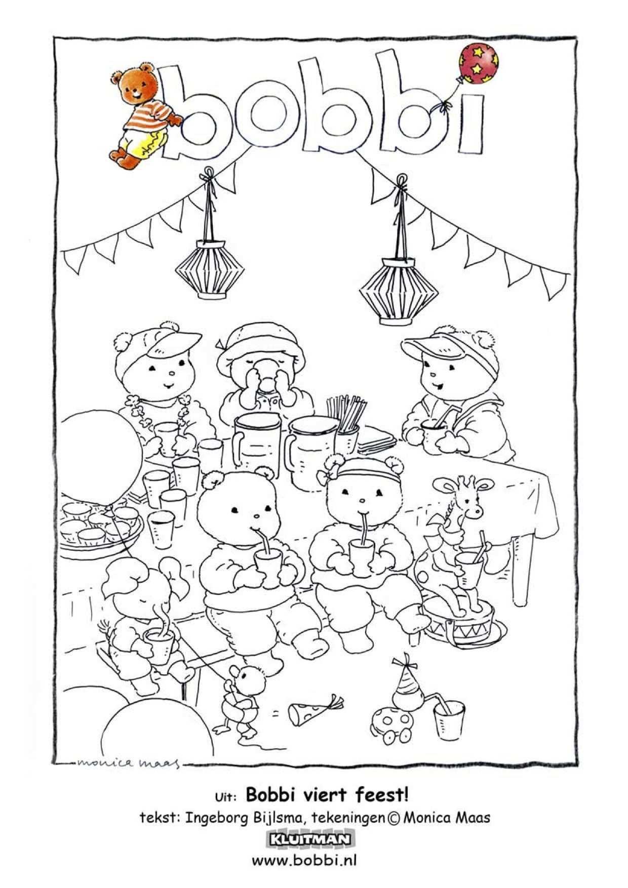 Kleurplaat Bobbi Viert Feest Voor Peuters En Kleuters Kleurplaten Kinderkleurplaten Kinderknutsels