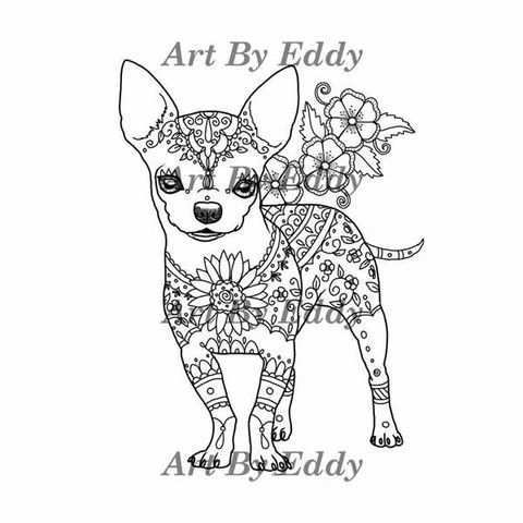 Chihuahua Coloring Book For All Ages Coloring Books Chihuahua Drawing Dog Coloring Page