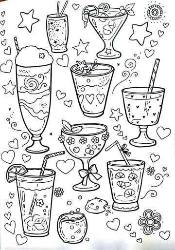 Party Drink Doodles Coloring Book Pages Coloring Books Colouring Pages