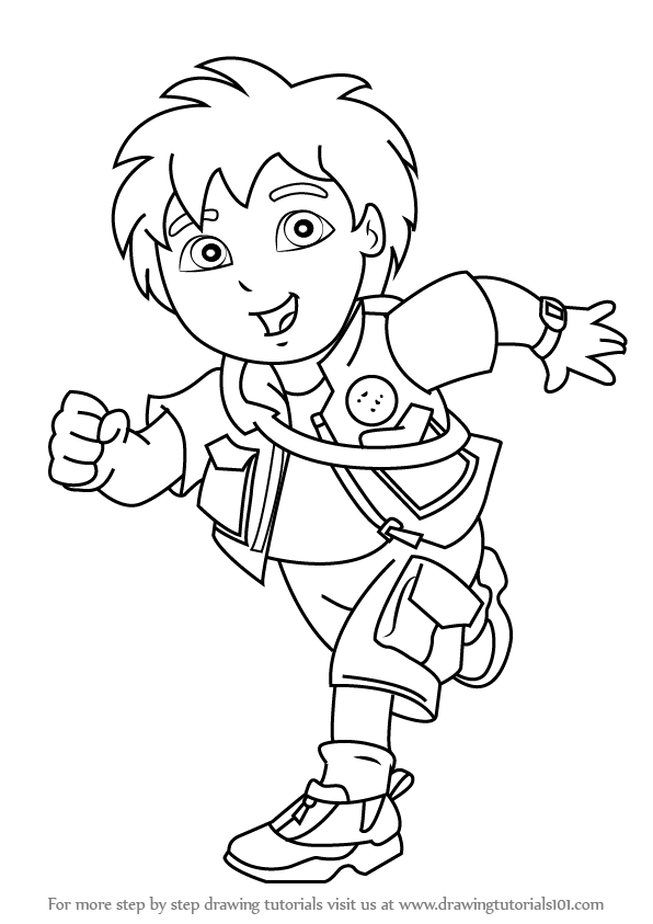 Learn How To Draw Diego Marquez From Go Diego Go Go Diego Go Step By Step Drawing Tut Cartoon Coloring Pages Super Coloring Pages Cute Coloring Pages