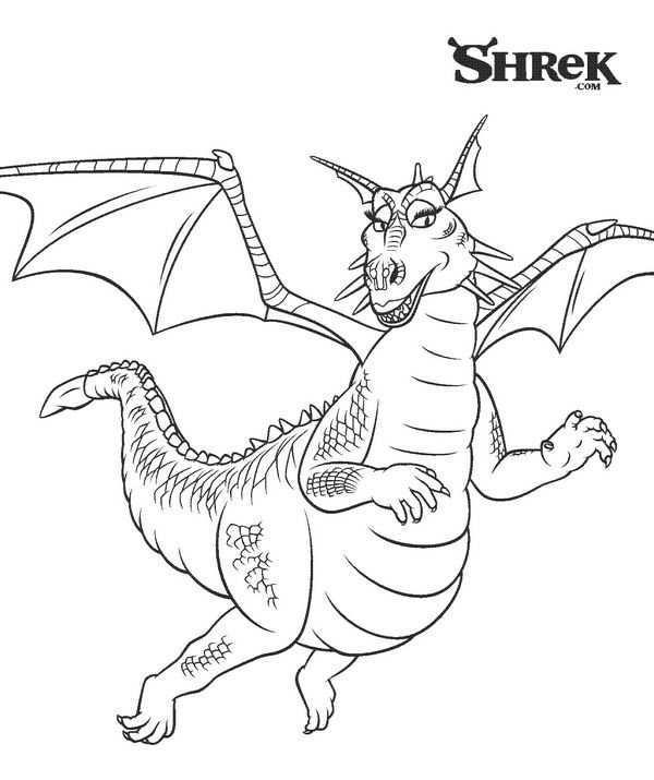 Kids N Fun Kleurplaat Shrek 3 De Draak Shrek Kleurplaten Drake