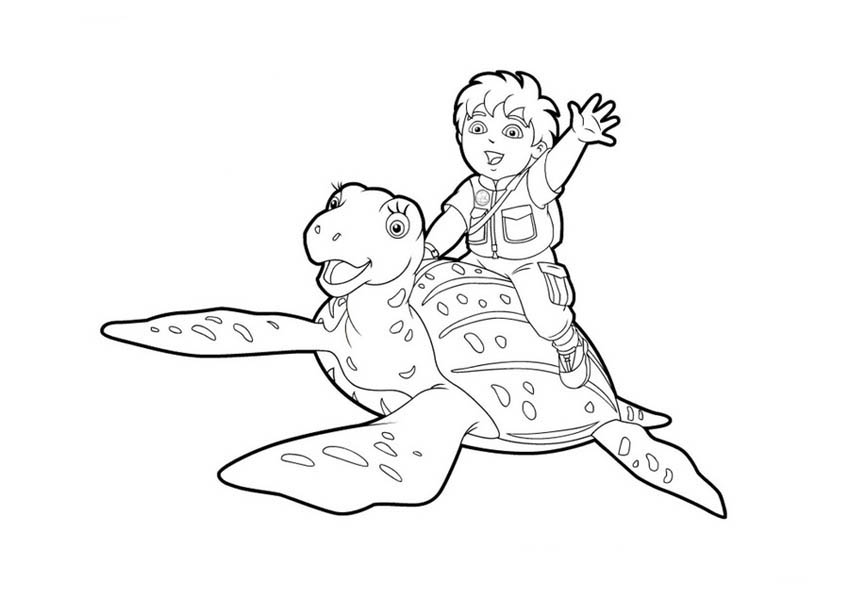Diego And His Friend Turtle In Go Diego Go Coloring Page Netart In 2020 Kleurplaten