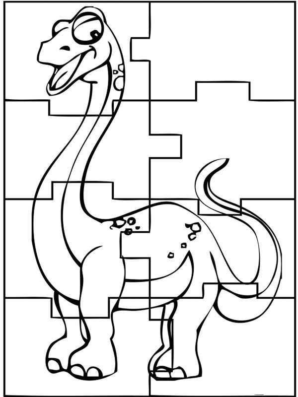Kleurplaat Dinosaurus Puzzel Dinosaurus Werkbladen Knutselen Dinosaurus