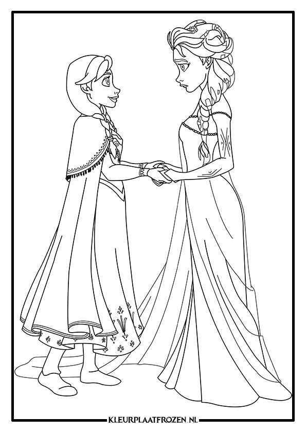 Kleurplaat Van Elsa En Anna Uit Frozen Prinses Kleurplaatjes Frozen Kleurplaten Kleurplaten