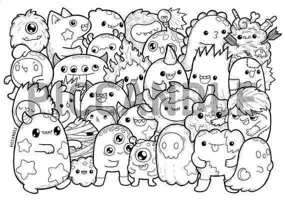 Monsters Doodle Coloring Page Printable Cute Kawaii Coloring Page For Kids And Adults Kritzel Zeichnungen Kawaii Kritzeleien Doodle Monster