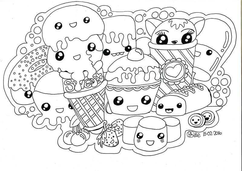 Kawaii Sweets Doodle Doodle Coloring Cute Coloring Pages Cute Drawings
