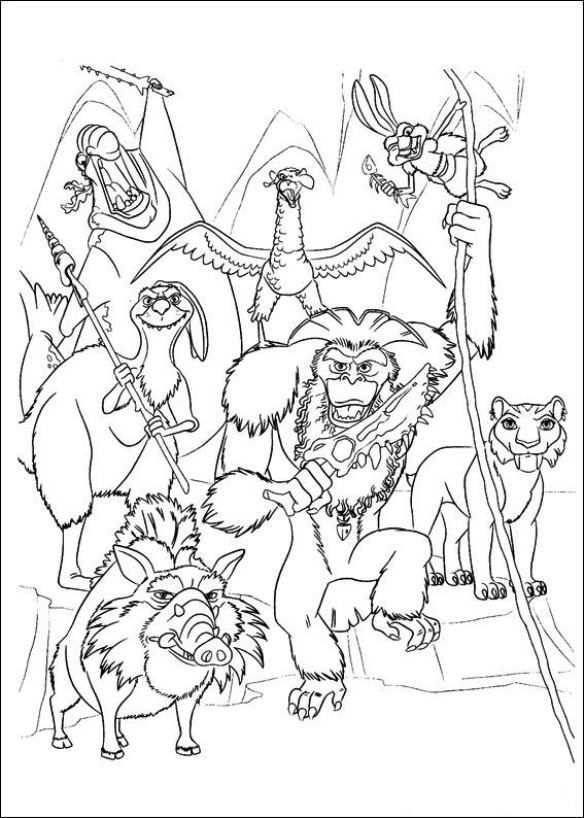 Kleurplaat Van Ice Age 4 Continental Drift Kleurplaten Kleurboek Boek Bladzijden Kleuren