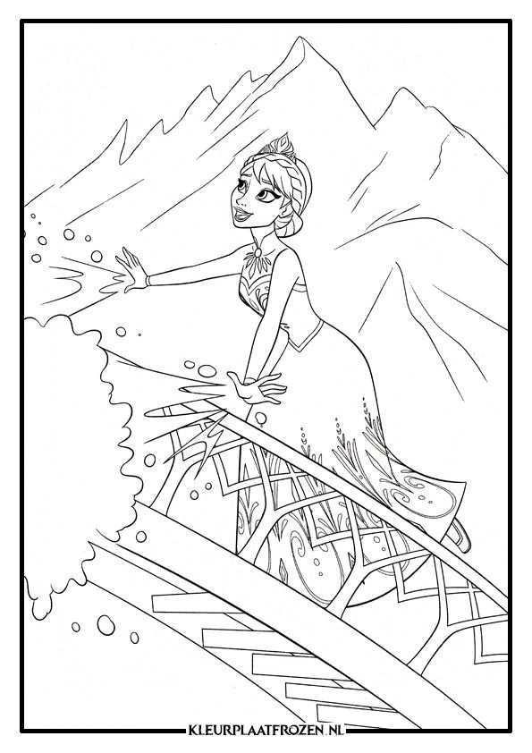 Kleurplaat Van Elsa Uit Frozen Frozen Kleurplaten Kleurplaten Prinses Kleurplaatjes
