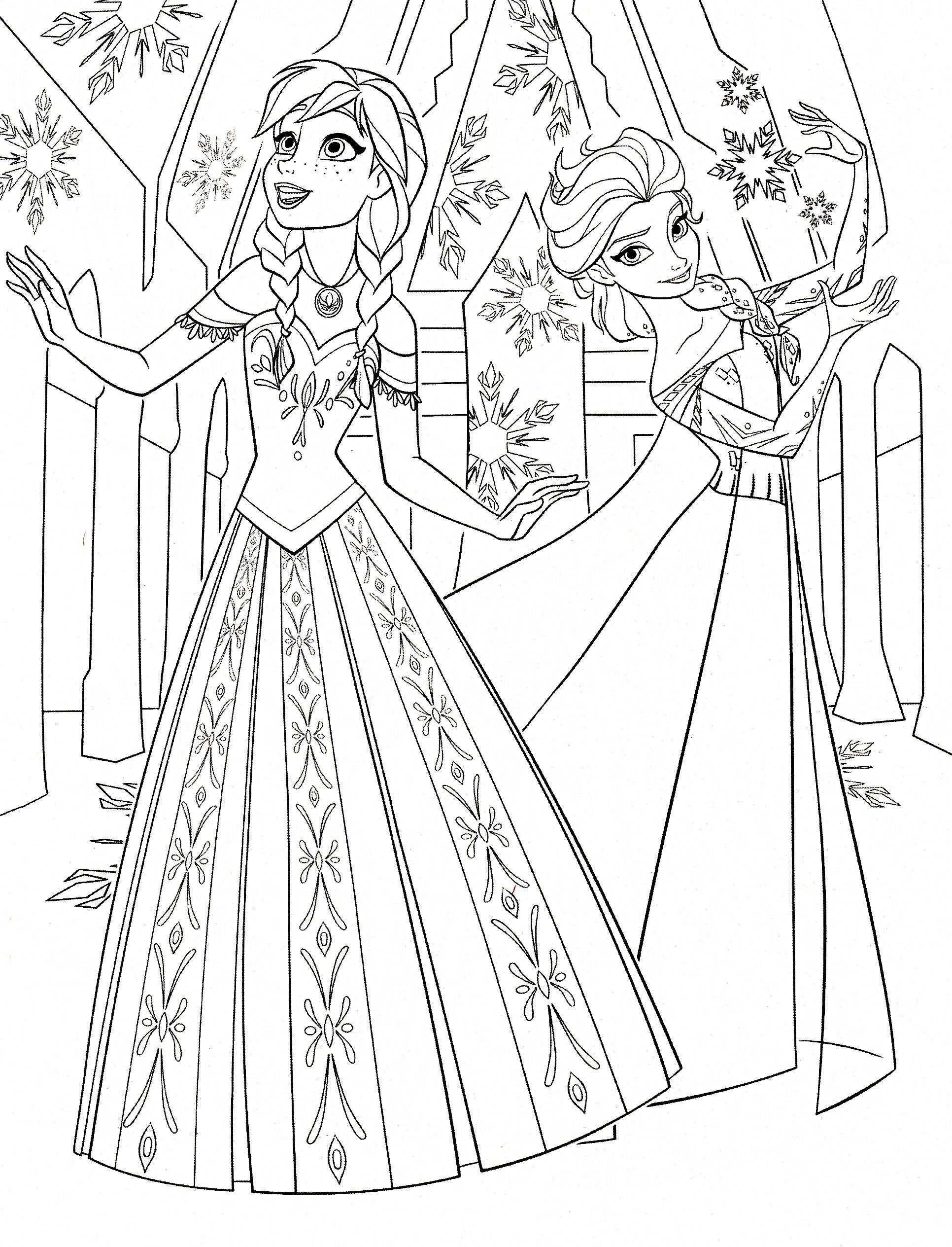 Elsa Anna Frozen Prinses Kleurplaatjes Frozen Kleurplaten Kleurboek