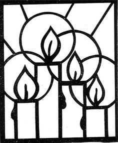 Kleurplaat Glas In Lood Christmas Art Christmas Coloring Pages Candle Drawing Art