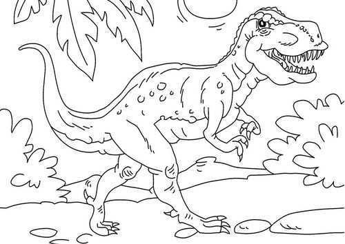 Kleurplaat Dinosaurus Tyrannosaurus Rex Afb 27625 Kleurplaten Dinosaurus Kleurrijke Tekeningen