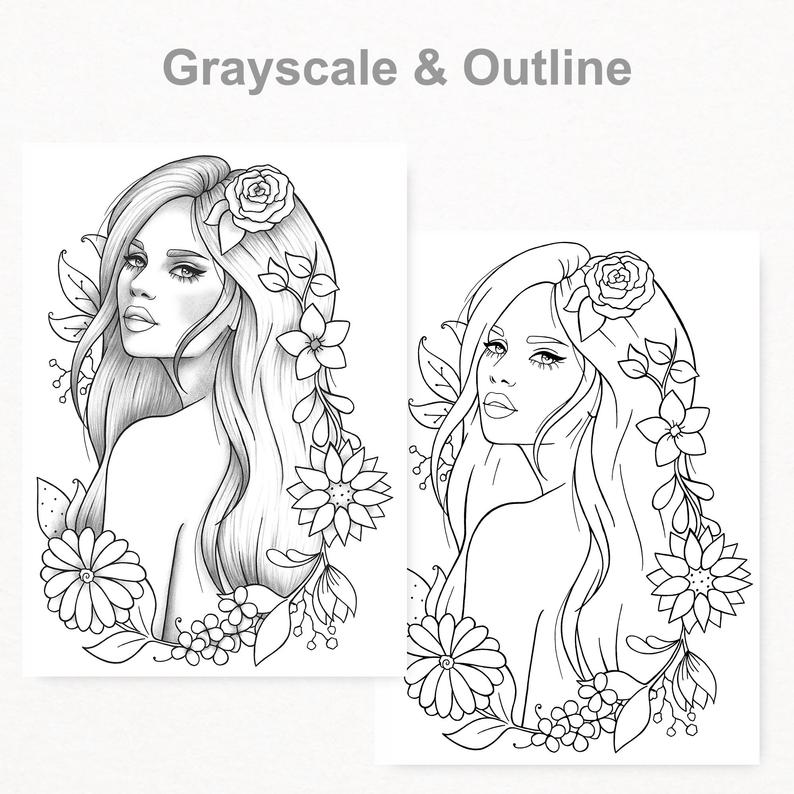 Printable Coloring Page Girl Portrait And Clothes Colouring Etsy Digi Stempels Stempelen