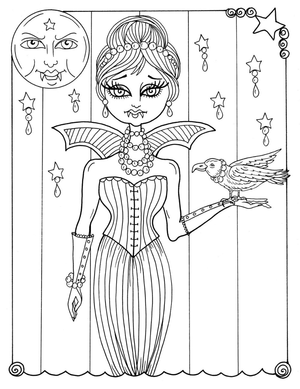5 Pagina S Van Vampire Vixens Aan Color Instant Download Etsy Gratis Kleurplaten Vampier Kaarten Maken