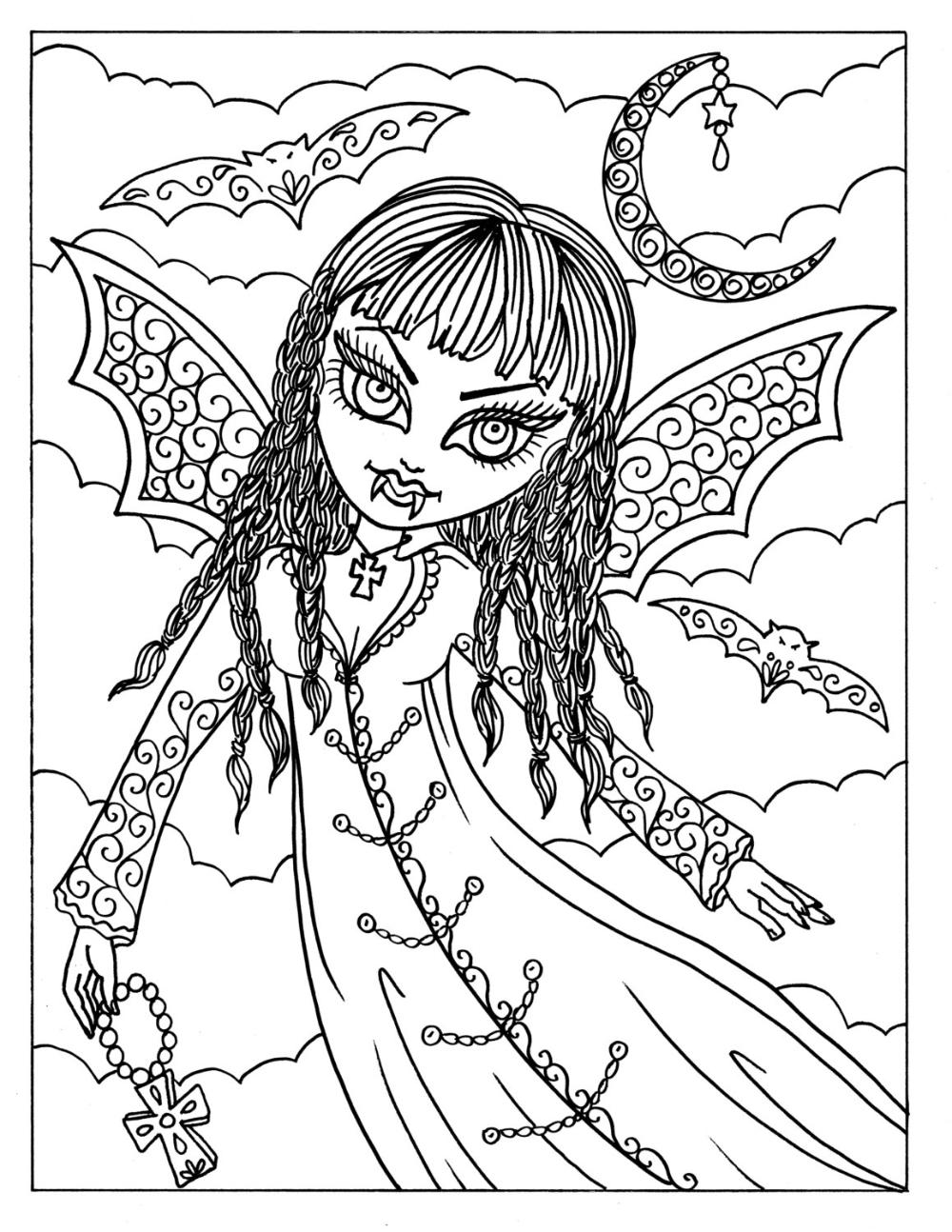 5 Pagina S Van Vampire Vixens Aan Color Instant Download Etsy Kleurplaten Voor Volwassenen Vampier Kleurplaten