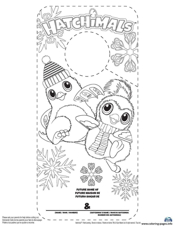 Hatchimals Door Hanger To Color Valentine Coloring Pages Coloring Pages Penguin Coloring Pages
