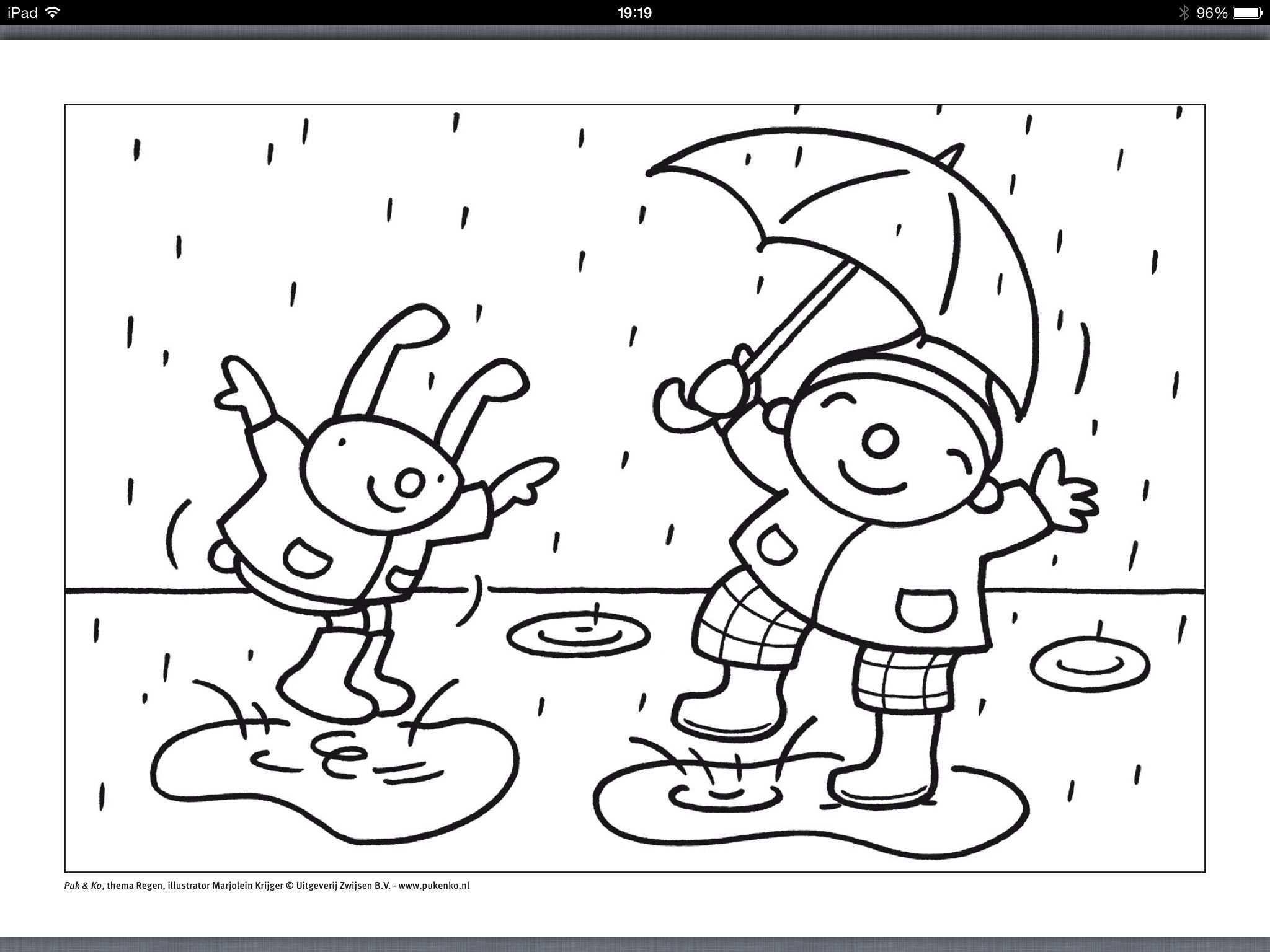 Regen Uk En Puk Kleurplaat Regen Knutselen Kleurplaten Thema