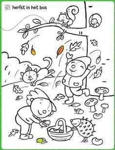 Kleurplaat Herfst In Het Bos Herfstwerkjes Herfst Activiteiten Kinderkleurplaten