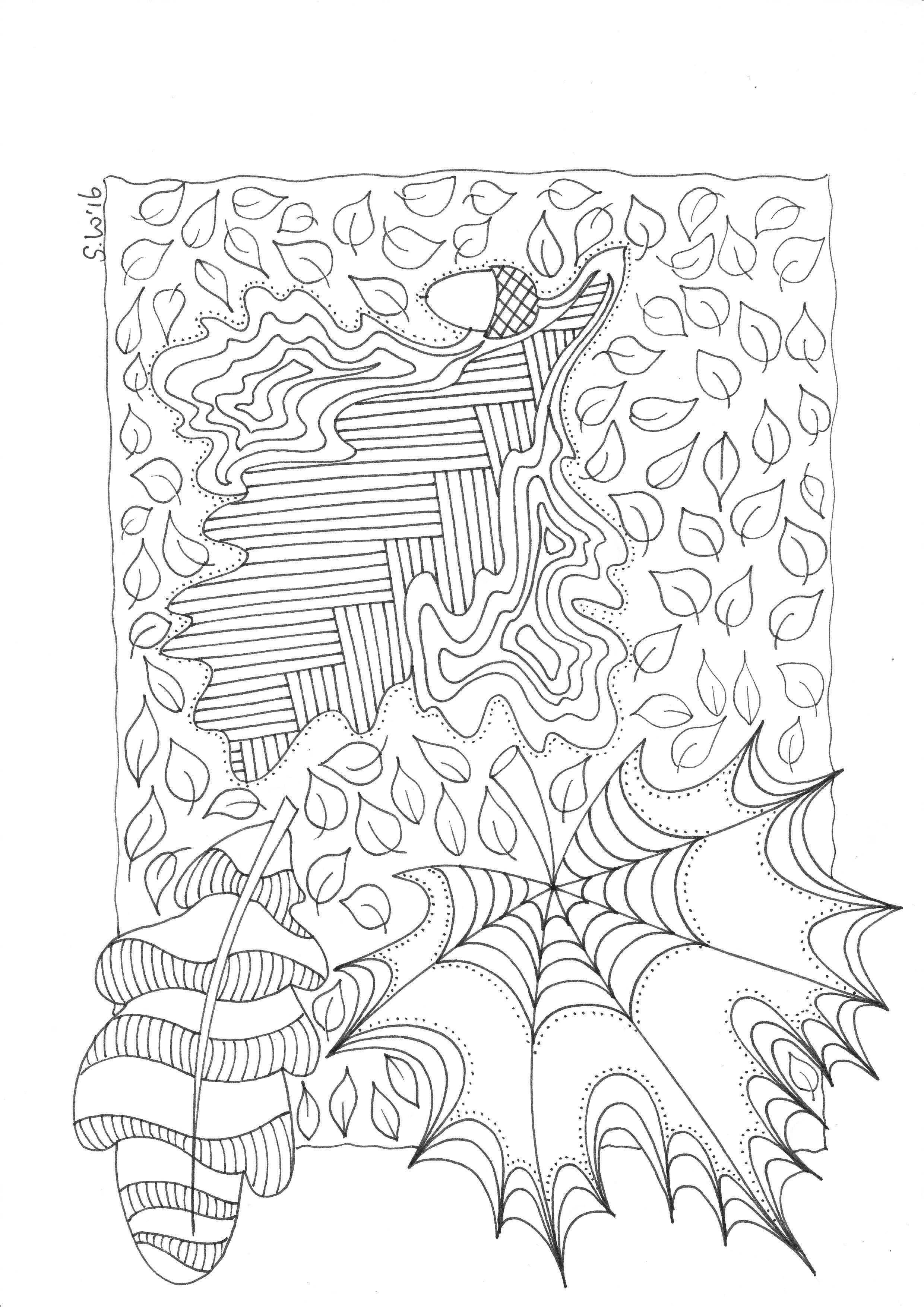 Herfst Bladeren Doodle Kleurplaten Kleuren Kleurplaten Voor Volwassenen