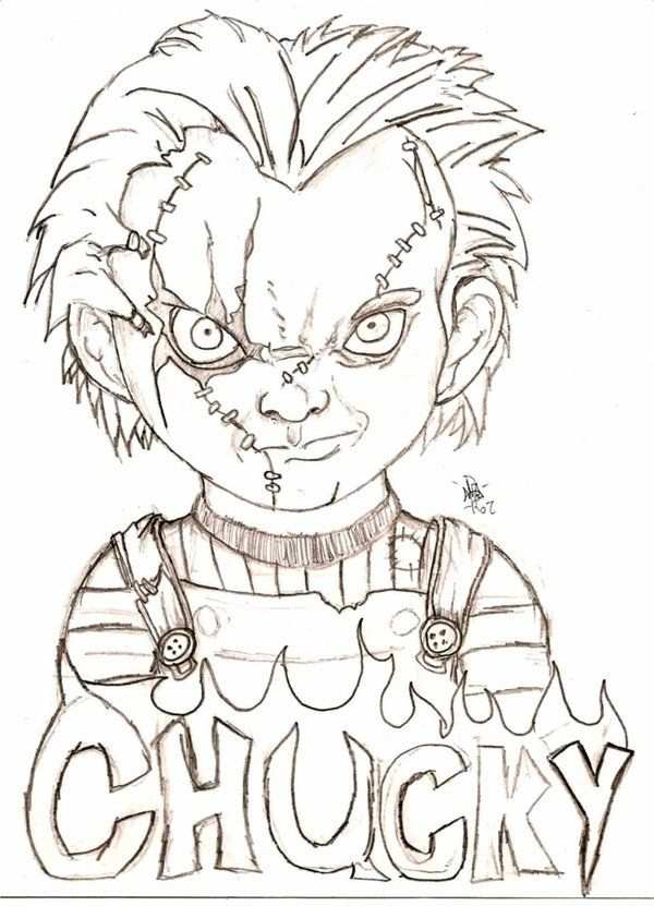 Chucky By Eyball Scary Drawings Creepy Drawings Scary Coloring Pages
