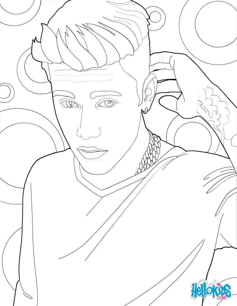 Justin Bieber And His Tattoo Coloring Page More Famous People Coloring Sheets On Hellokids Com People Coloring Pages Abstract Sketches Art Poster Design