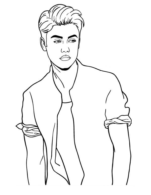 Justin Bieber Posing Coloring Page Netart Disney Drawings Sketches Justin Bieber Sketch Justin Bieber