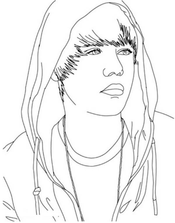 Justin Bieber Wearing Hoodie Coloring Page Netart In 2020 Coloring Pages Justin Bieber Justin