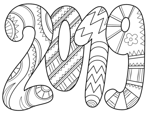 2019 Text Coloring Page New Year Coloring Pages Free Printable Coloring Pages Printable Coloring Pages