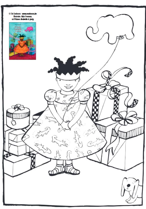 Kleurplaat Bij Het Prentenboek Arabella Is Jarig Kleurplaten Verjaardag Boek Prinses