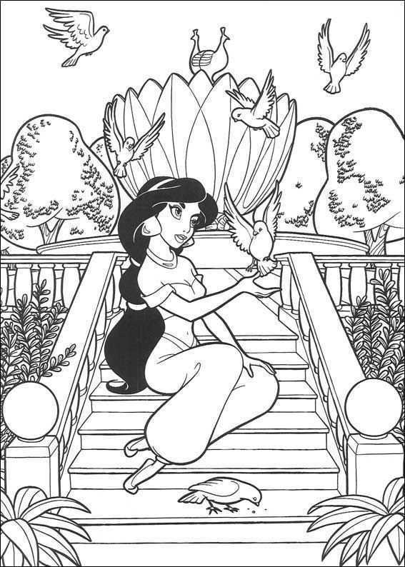 Kids N Fun Kleurplaat Aladdin Aladdin Prinses Kleurplaatjes Kleurplaten Kleurboek