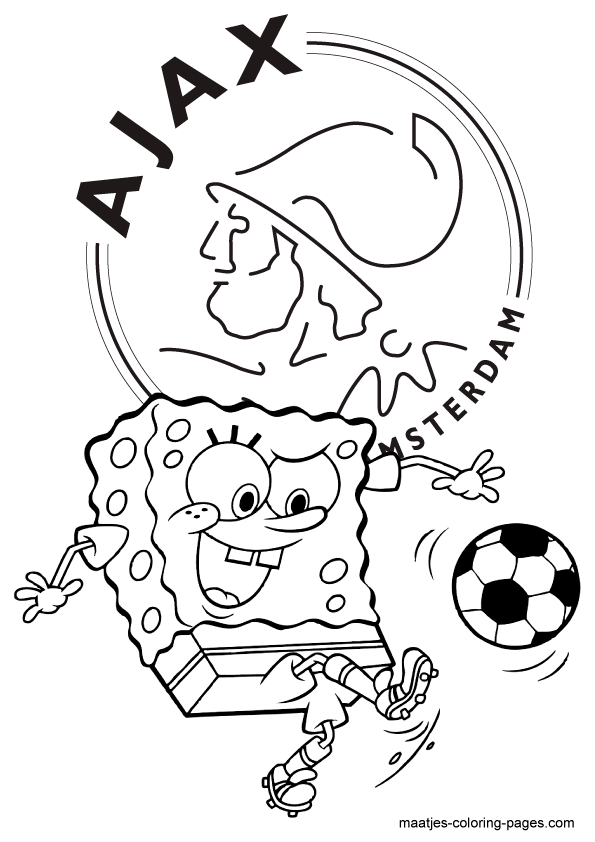 Spongebob Squarepants Voetbalt Bij Ajax Kleurplaat Kleurplaten Spongebob Spongebob Squarepants