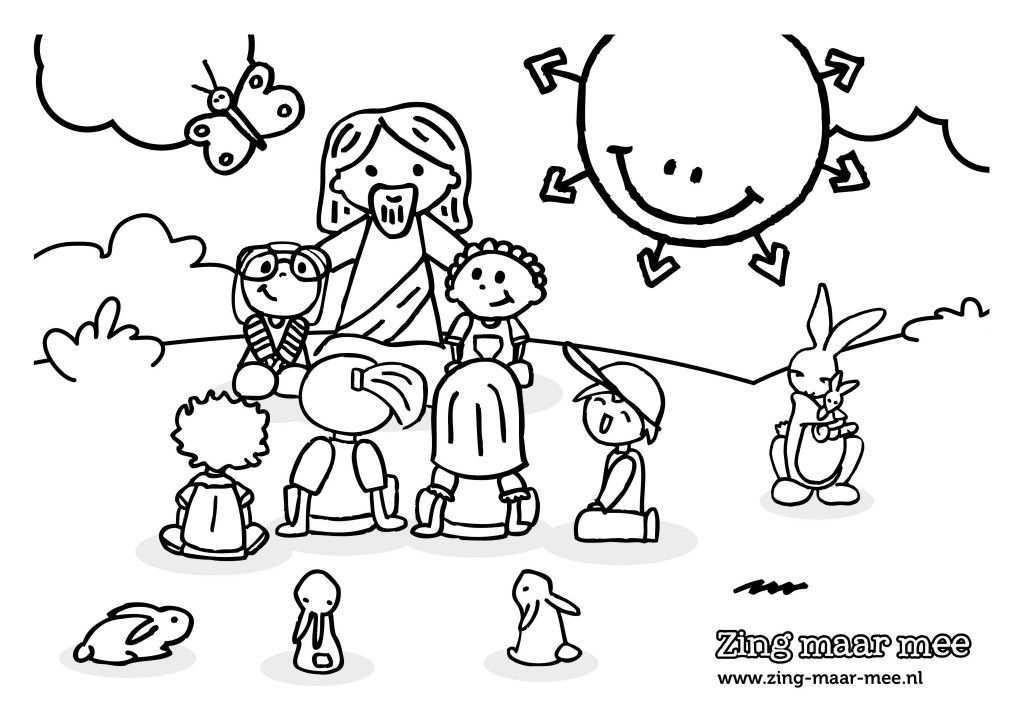 Kleurplaat Jezus Houdt Van Alle Kinderen Christelijk Kinderen Kleurplaten