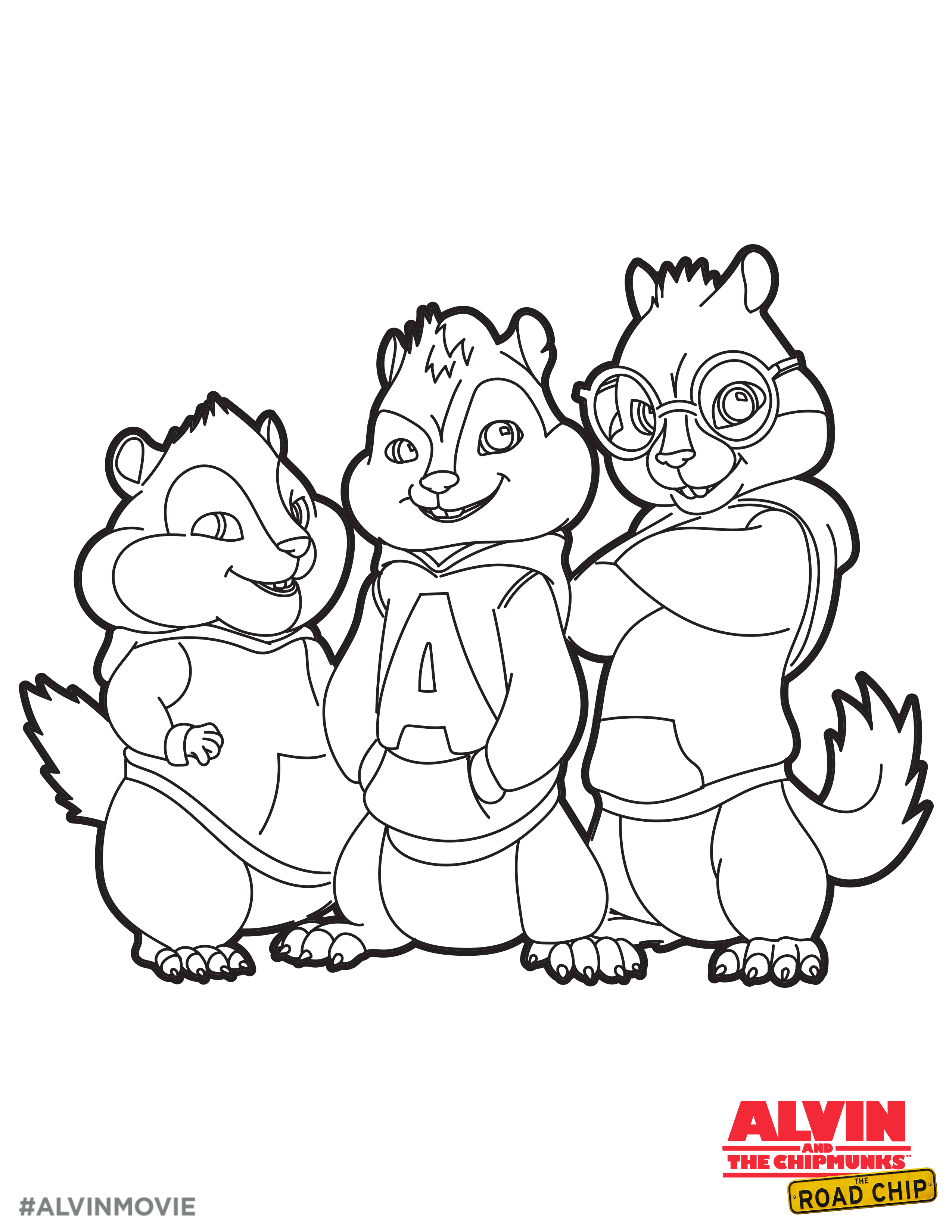 Alvin And The Chipmunks Free Coloring Printable Alvin And The Chipmunks The Road Chip Cat Coloring Book Cartoon Coloring Pages Alvin And The Chipmunks