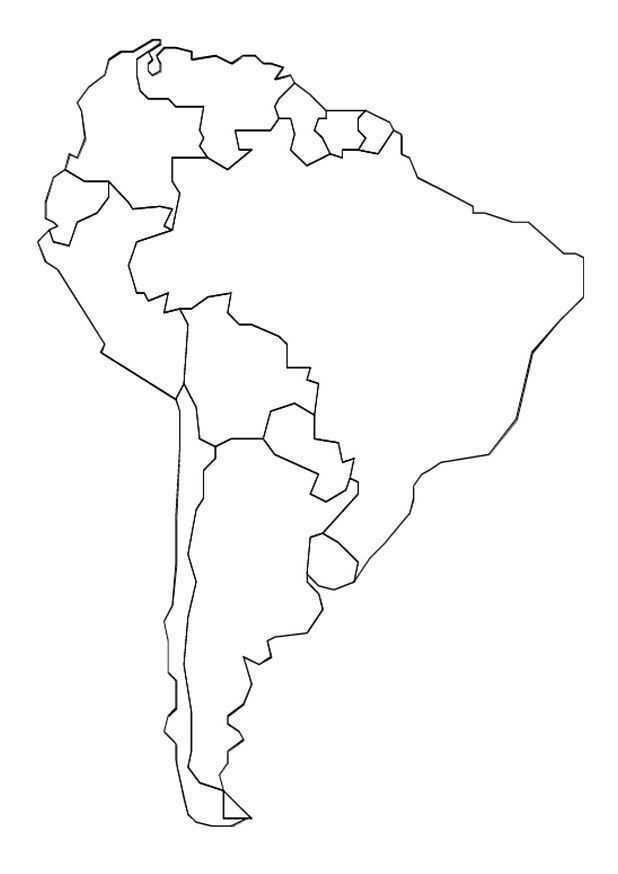 Kids N Fun Kleurplaat Landkaarten Landkaart Zuid Amerika Zuid Amerika Amerika Kaarten