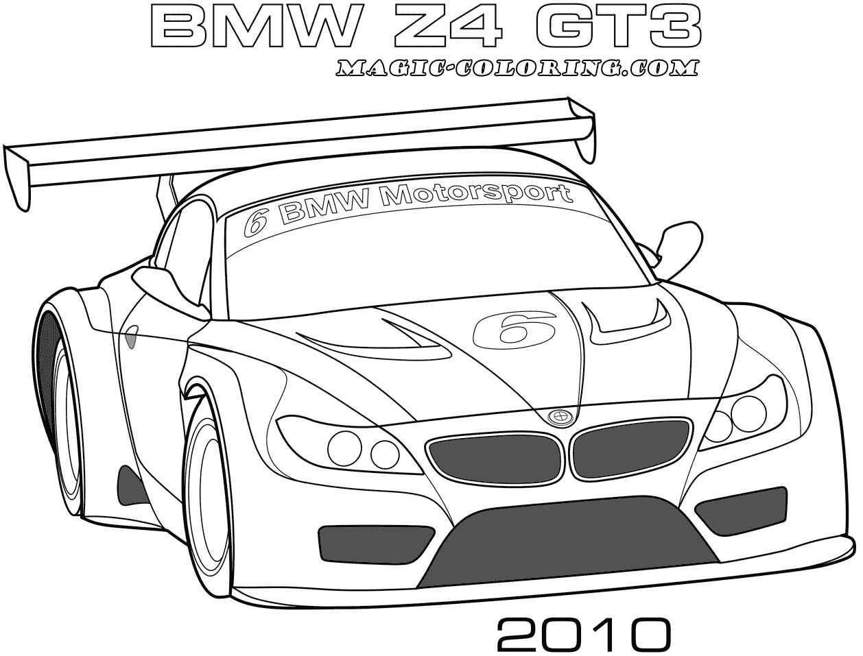 2010 Bmw Z4 Gt3 Coloring Page Cars Coloring Pages Bmw Z4 Race Car Coloring Pages
