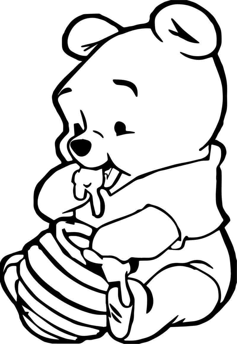 Cute Baby Winnie The Pooh Eating Hunny Coloring Page Animal Coloring Pages Bear Coloring Pages Zoo Animal Coloring Pages