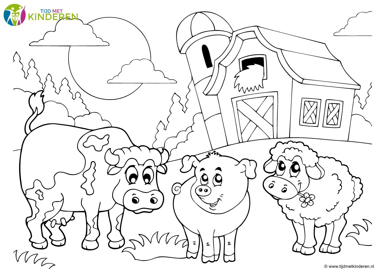 Kleurplaat Dieren Koe Varken Schaap Png 1279 913 Boerderij Thema Knutselen Boerderij Dieren