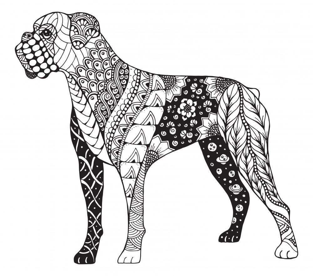 Mandalas De Perros Faciles Boxer Dog Tattoo Boxer Dogs Dog Coloring Page