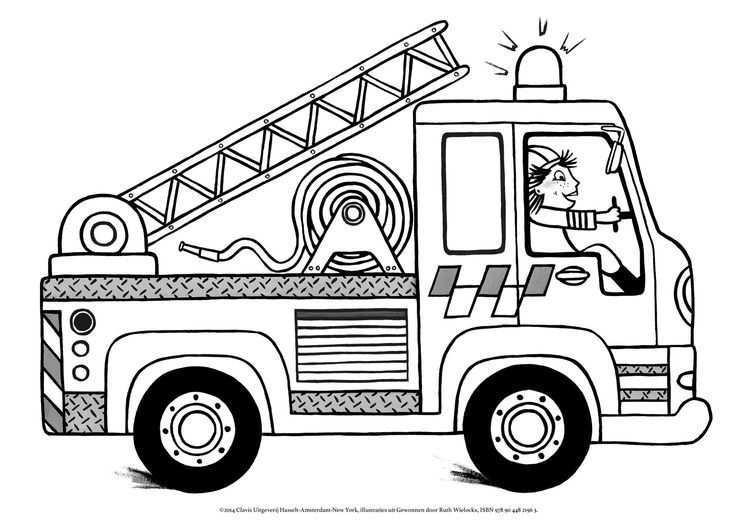 Kleurplaat Brandweer Ruth Wielockx Brandweerman Brandweer Brandweerauto
