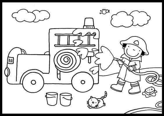 Kleurplaat Brandweer Brandweerman Vervoer Thema Brandweer