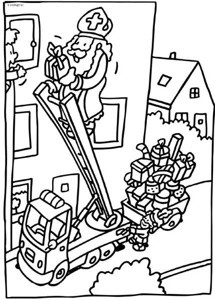 Met De Brandweerauto Knutselen Sinterklaas Sinterklaas Kleurplaten