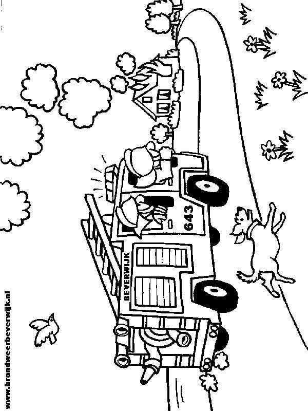 Kleurplaat Van Brandweerwagen Vervoer Knutselen Thema Brandweerwagen